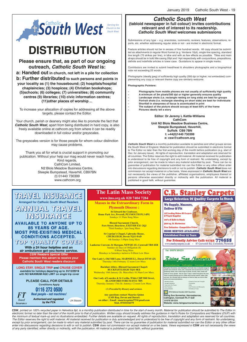 Jan 2019 edition of the Catholic South West - Page