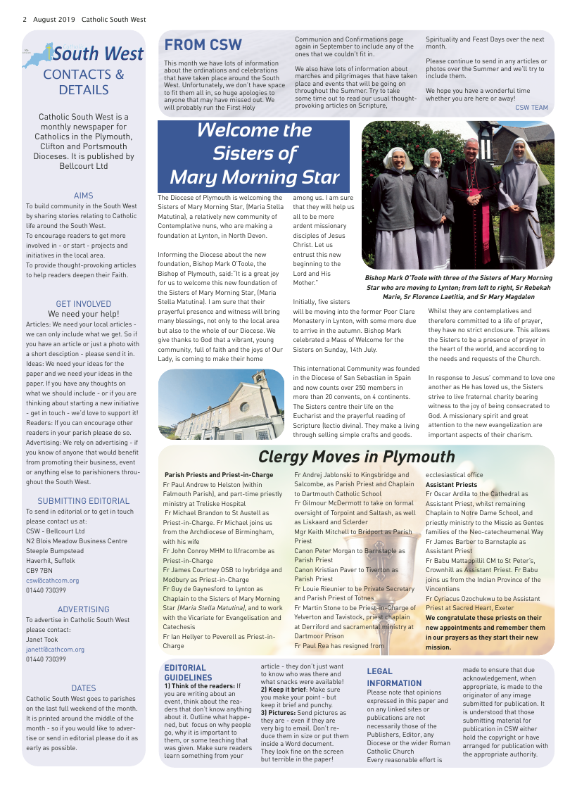 Aug 2019 edition of the Catholic South West - Page