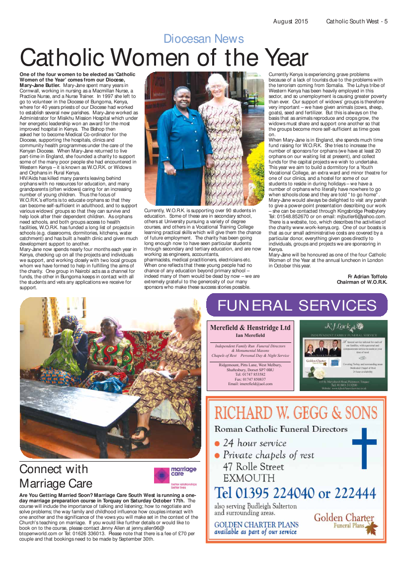 Sept 2015 edition of the Catholic South West