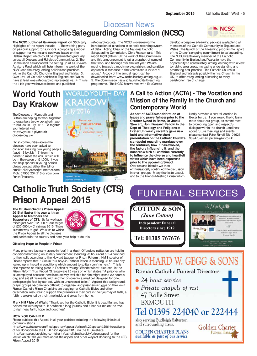 Oct 2015 edition of the Catholic South West
