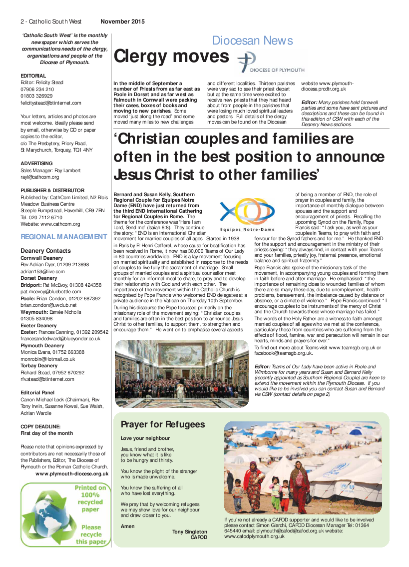 Nov 2015 edition of the Catholic South West