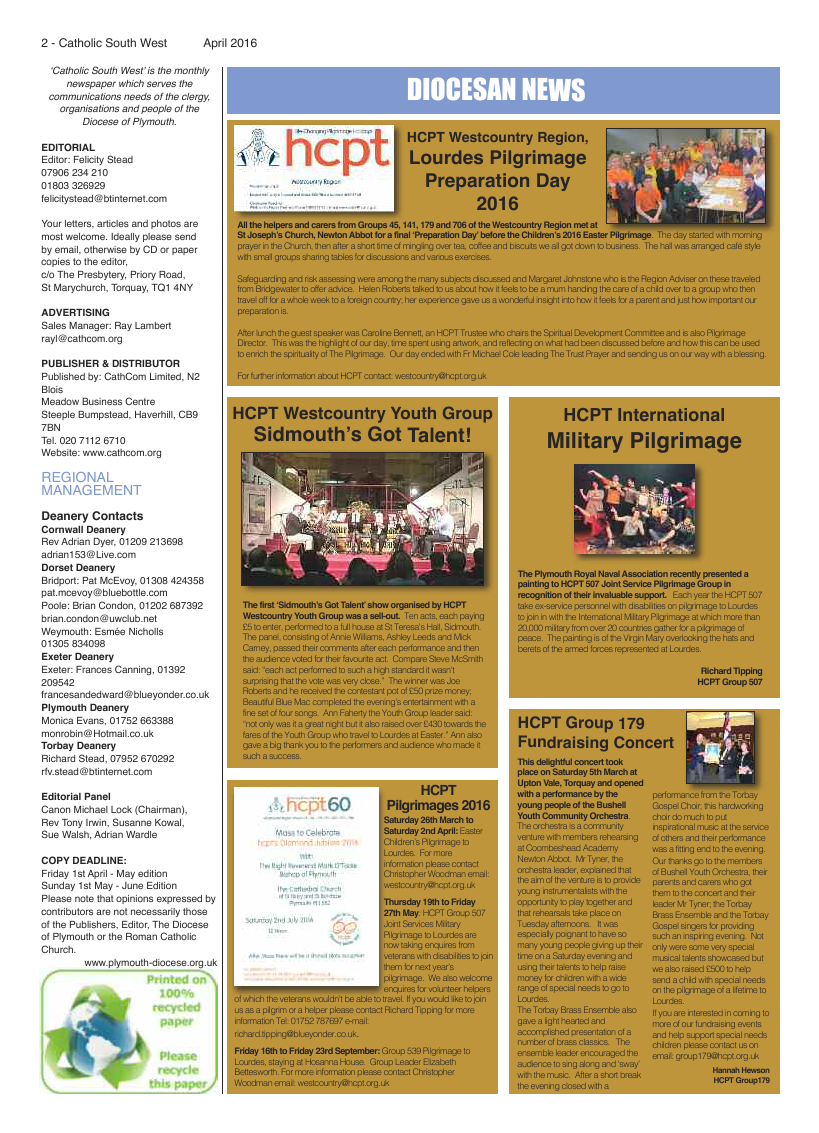 Apr 2016 edition of the Catholic South West - Page
