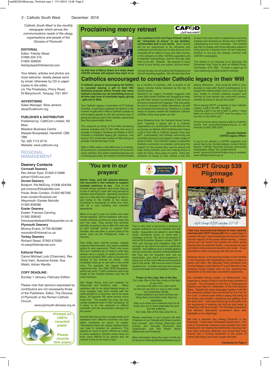 Dec 2016 edition of the Catholic South West - Page