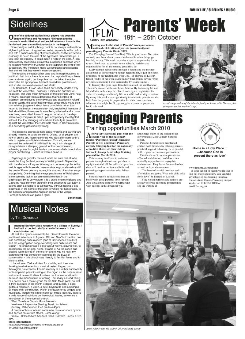 Oct 2009 edition of the Leeds Catholic Post