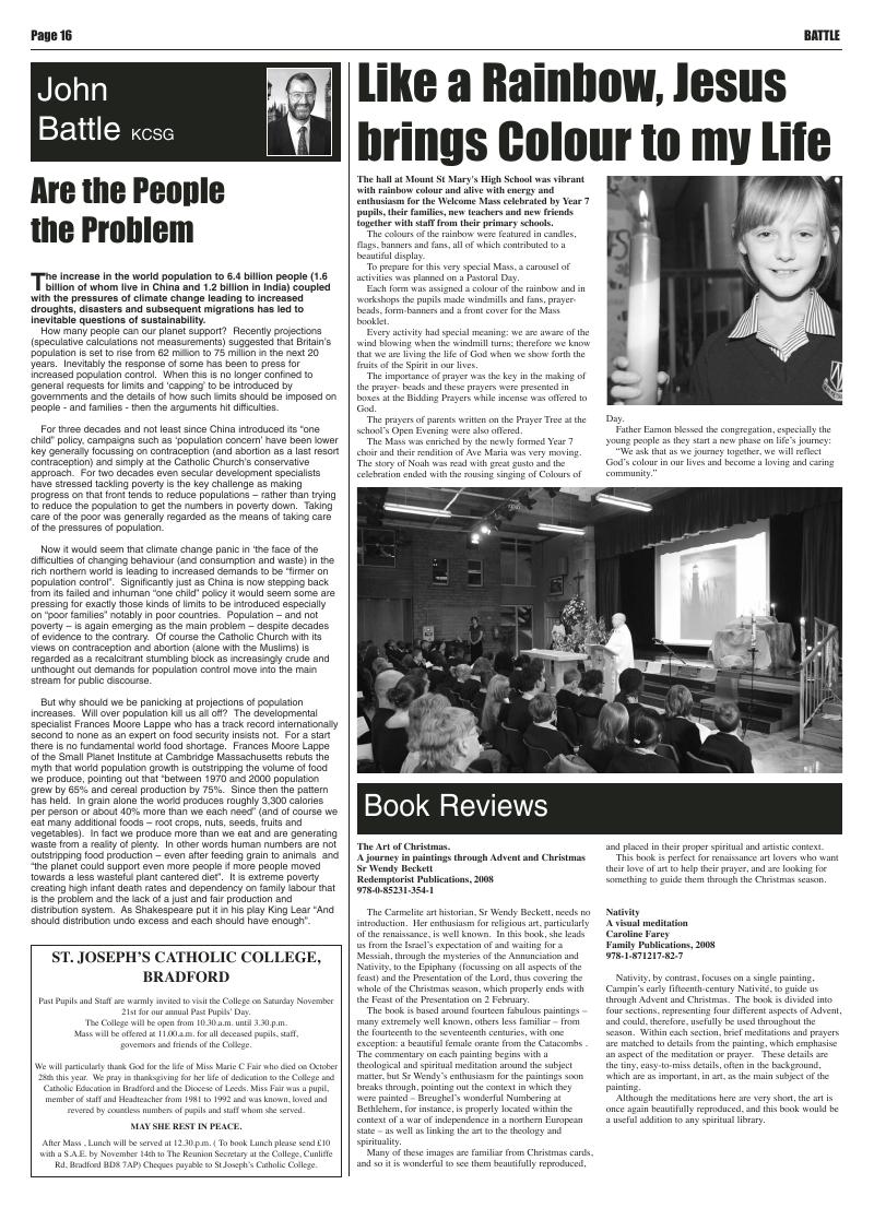 Nov 2009 edition of the Leeds Catholic Post