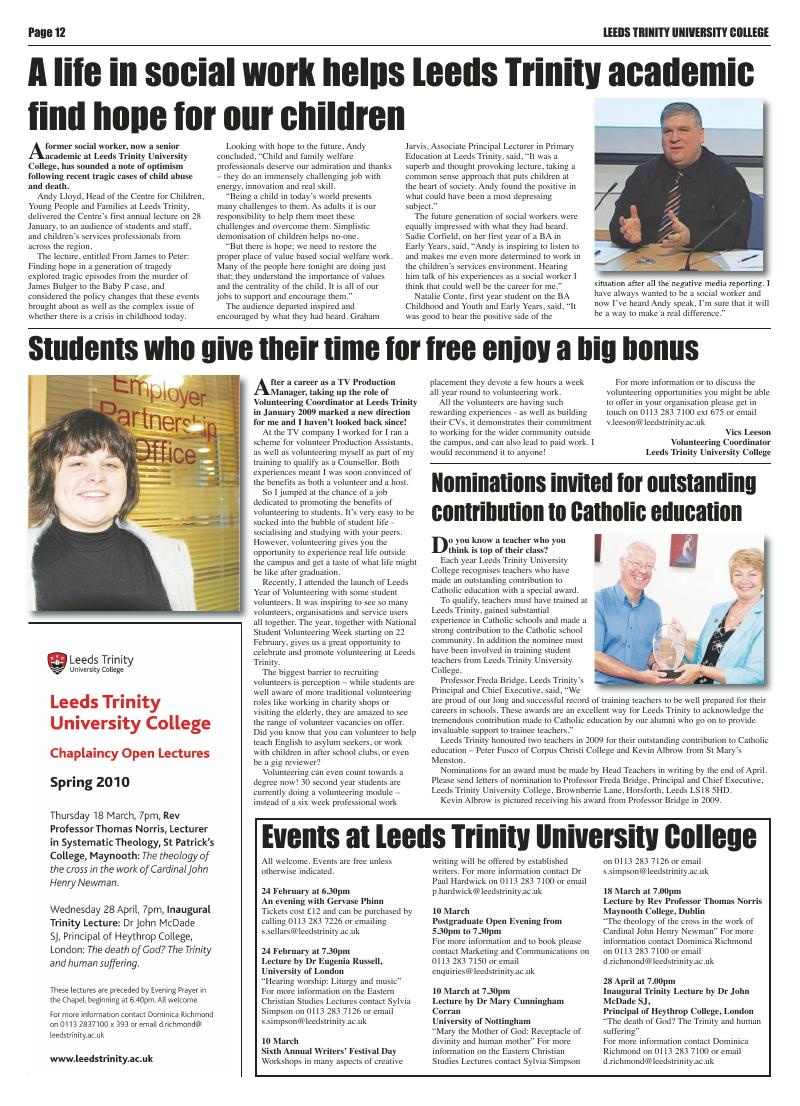 Feb 2010 edition of the Leeds Catholic Post