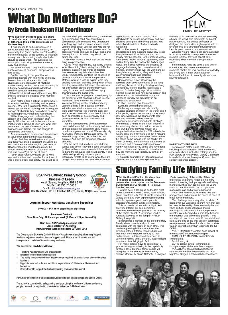 Mar 2012 edition of the Leeds Catholic Post