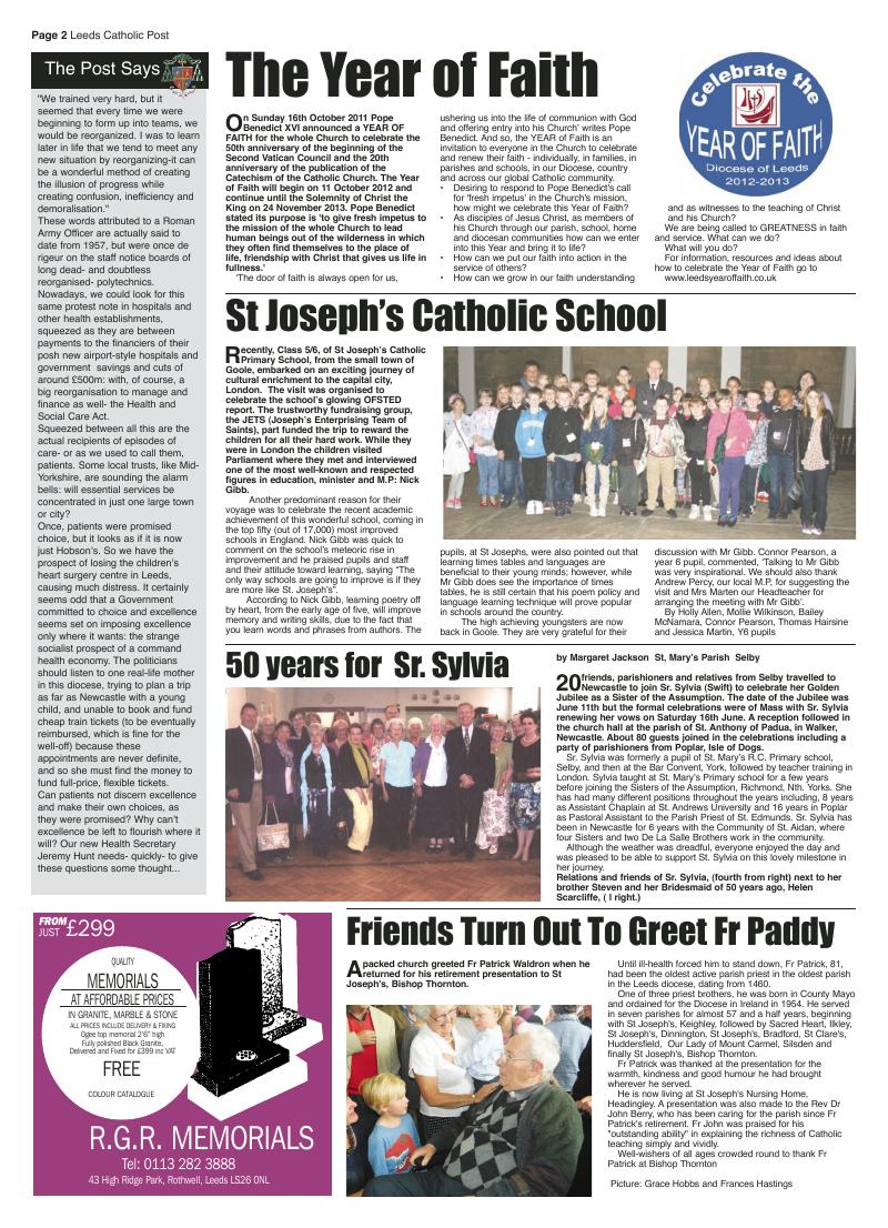 Sept 2012 edition of the Leeds Catholic Post