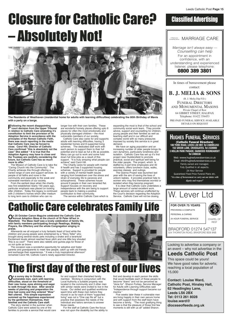 Nov 2012 edition of the Leeds Catholic Post
