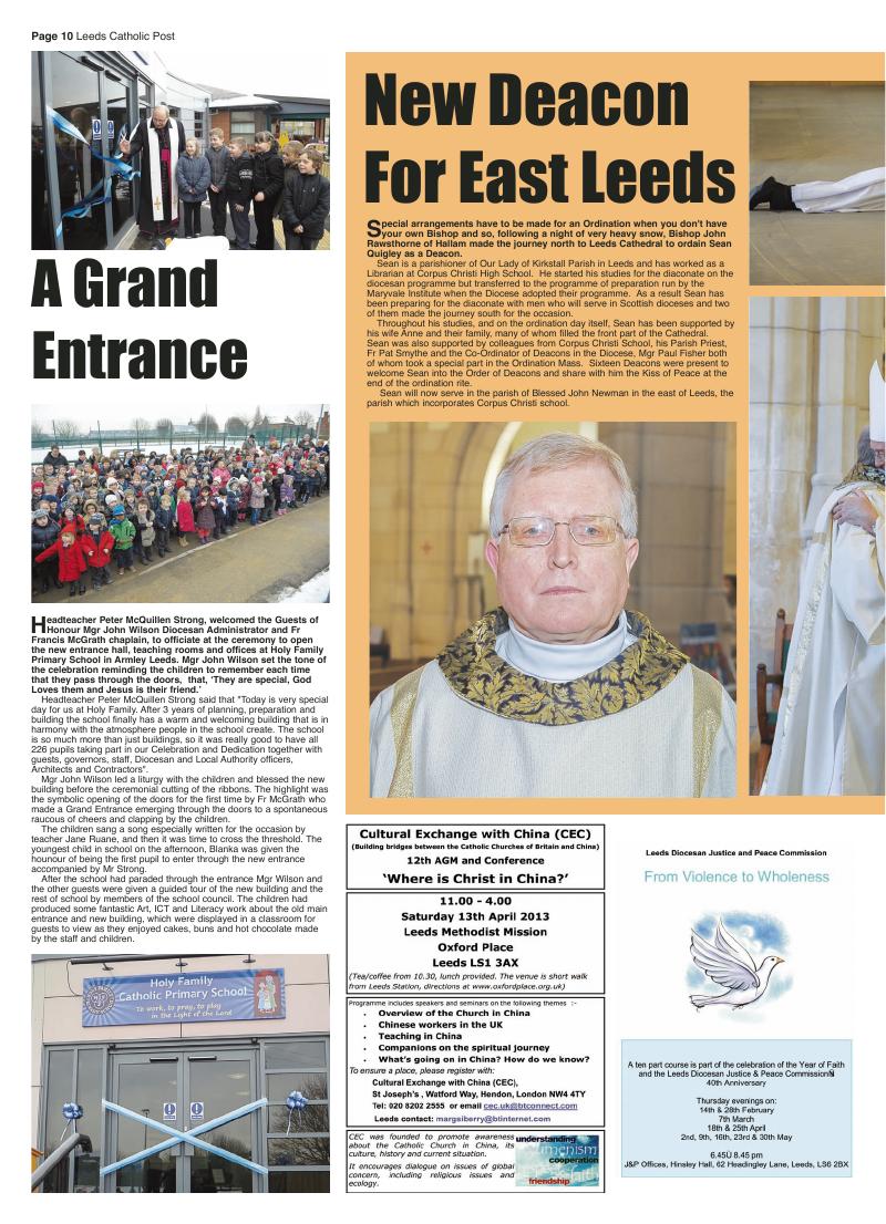 Feb 2013 edition of the Leeds Catholic Post