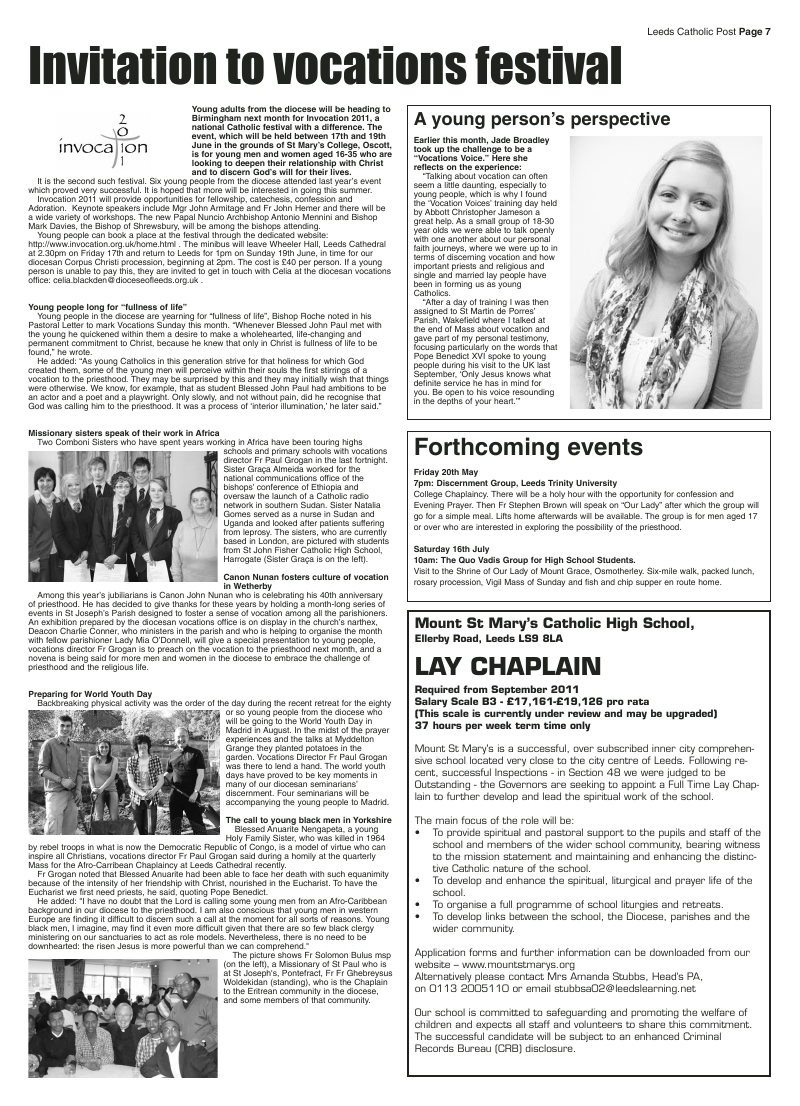 May 2011 edition of the Leeds Catholic Post