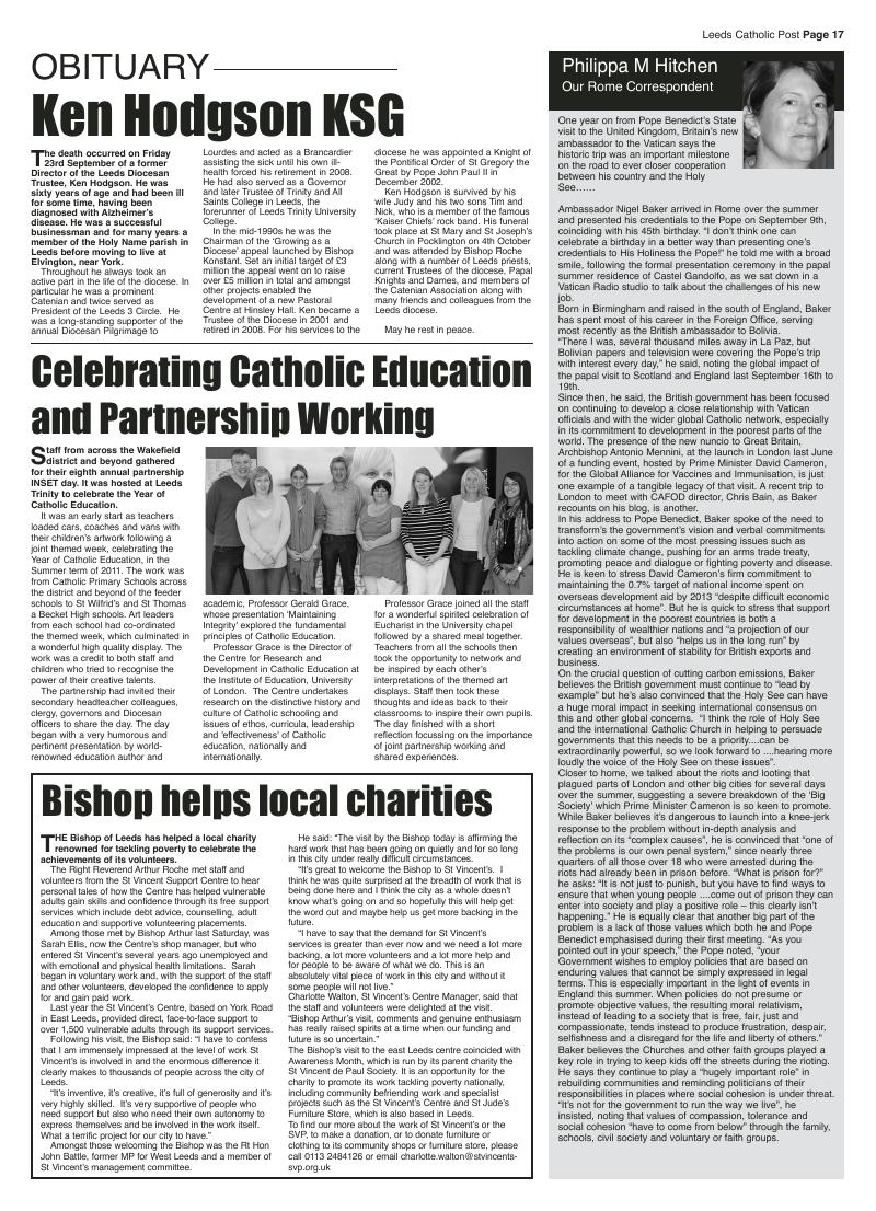 Oct 2011 edition of the Leeds Catholic Post