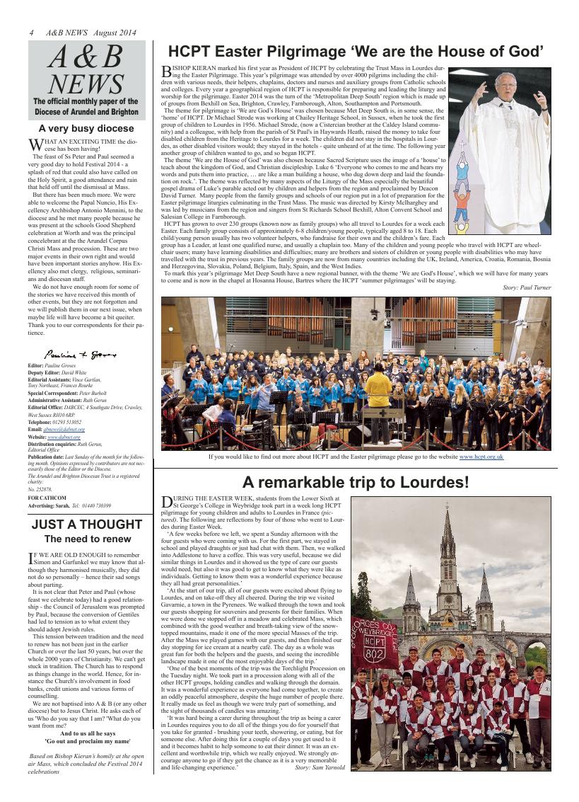Aug 2014 edition of the A & B News