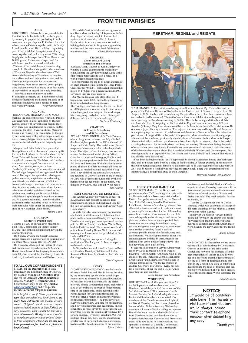 Nov 2014 edition of the A & B News