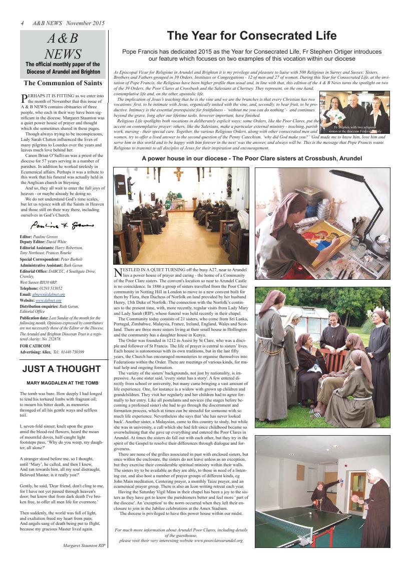Nov 2015 edition of the A & B News