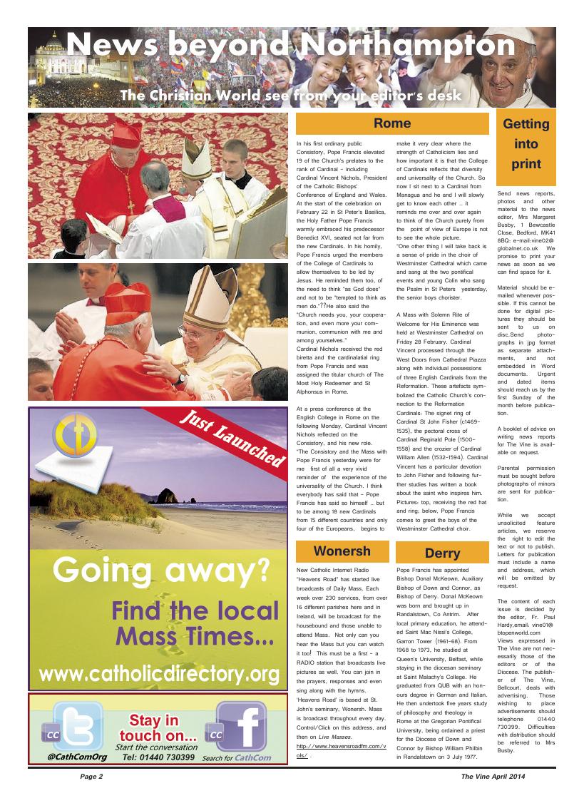 Apr 2014 edition of the The Vine - Northampton